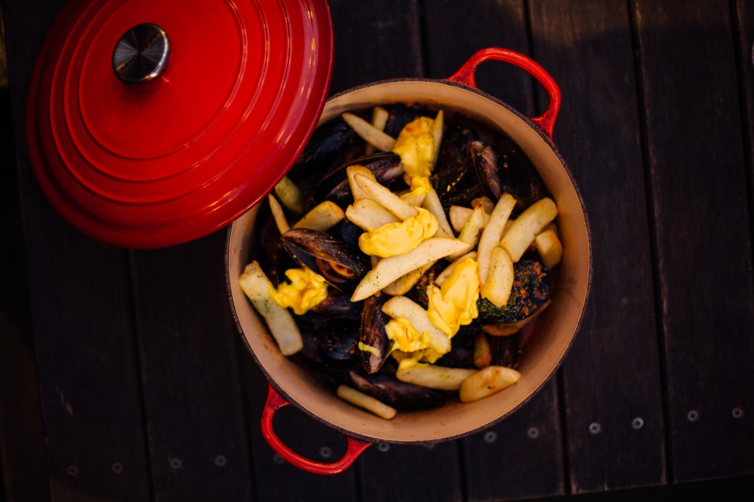 Smoked romesco mussels with a saffron aioli, need we say more.